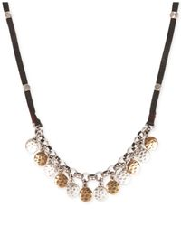 Lucky Brand - Metallic Silver-Tone And Gold-Tone Disc Necklace - Lyst