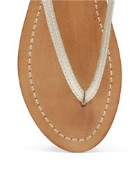 Lucky Brand | Metallic Amberr Leather Thong Sandals | Lyst