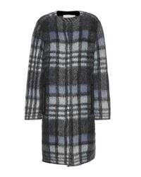 Tory Burch - Black Check Coat - Lyst