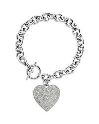 Michael Kors | Metallic Silvertone Etched Mk Heart Bracelet | Lyst