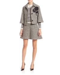 RED Valentino - Black Tweed Cropped Detailed Cape - Lyst