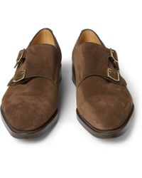 John Lobb - Brown William Suede Monk-Strap Shoes for Men - Lyst