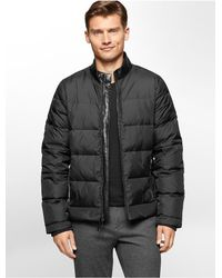 Calvin Klein | Black White Label Faux Leather Collar Nylon Down Jacket | Lyst