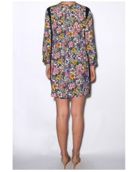 Band of Outsiders Multicolor Floral Blocked Trapeze Dress