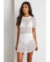Forever 21 - White Mesh Drawstring Waist Dress - Lyst