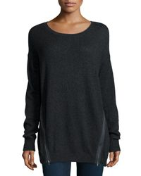 Neiman Marcus | Gray Suzie Cashmere Side-zip Boat-neck Sweater | Lyst