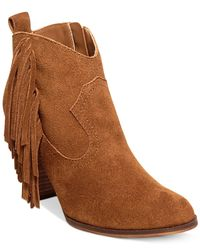 Steve Madden | Brown Ohio Fringe Booties | Lyst