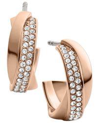 Michael Kors | Metallic Rose Goldtone Crystal Twisted Hoop Earrings | Lyst