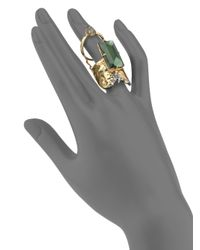 Alexis Bittar | Green Elements Punk Labradorite, Pyrite & Crystal Stacked Baguette Ring | Lyst