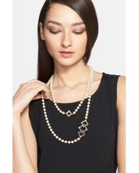 St. John | Metallic Two-tone Station Faux Pearl Double Strand Necklace - Light Gold/ Rhodium | Lyst