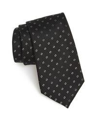 Calibrate Black 'traill Neat' Geometric Silk Tie for men