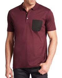 Saks Fifth Avenue - Purple Dyron Pocket Polo for Men - Lyst