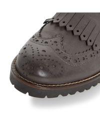 Dune Black Gray Felton Fringe Detail Monk Shoes