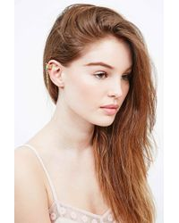 Urban Outfitters - Metallic Drop Feather Ear Cuff In Gold - Lyst