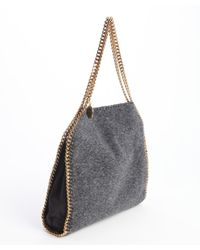 Stella McCartney - Gray Charcoal Faux Shearling Falabella Braided Chain Detail Tote - Lyst