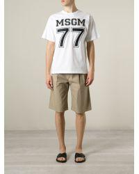 MSGM | White '77' Logo Print T-shirt for Men | Lyst