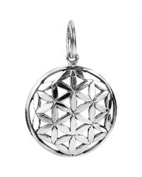 Aeravida - Metallic Linked Lilies Flower Of Life Sterling Silver Floral Pendant Charm-17mm - Lyst