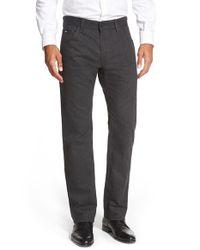 BOSS - Black 'maine' Regular Fit Straight Leg Pants for Men - Lyst