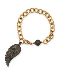 Sheryl Lowe | Metallic Link Bracelet With Pave Diamond Wing | Lyst