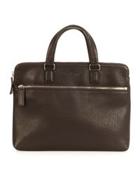 Ferragamo | Brown Single Gusset Leather Briefcase for Men | Lyst
