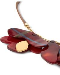 Marni | Red Tartan Flower Cattle Horn Necklace | Lyst