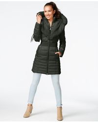 Laundry by Shelli Segal Black Faux-fur-trim Puffer Coat