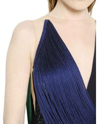 Stella McCartney Blue Fringed and Viscose Cady and Tulle Dress