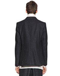 Andrea Pompilio Blue Striped Cotton Flannel Jacket for men