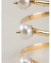 Nektar De Stagni - Metallic Spike Pearl Cuff - Lyst