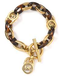 Michael Kors | Metallic Mk Tortoise Shell Link Bracelet | Lyst