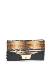 MILLY | Black Snake Embossed Leather Clutch | Lyst