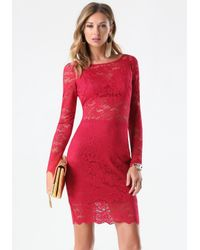 Bebe - Red Lace Bralette Dress - Lyst