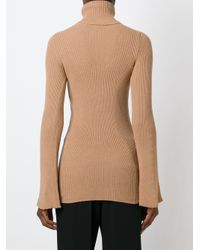 Stella McCartney | Natural Ribbed Turtle Neck Sweater | Lyst