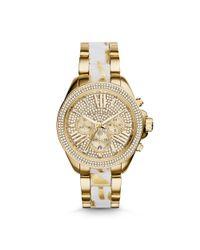 Michael Kors - Metallic Wren Gold-Tone Zebra Acetate Watch - Lyst