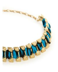 Ela Stone - Blue Rowina Coloured Thread Stud Bracelet - Lyst