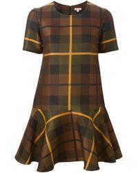 P.A.R.O.S.H. - Multicolor Peplum Checked Dress - Lyst