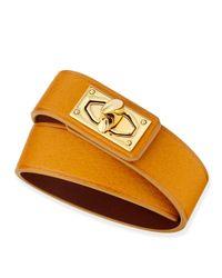 Givenchy | Orange Calfskin Leather Wrap Bracelet | Lyst