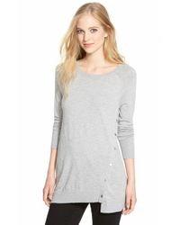Halogen - Gray Asymmetrical Snap Detail Lightweight Tunic - Lyst