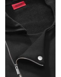 HUGO Black Hooded Cotton Sweatshirt Jacket 'Deel' for men