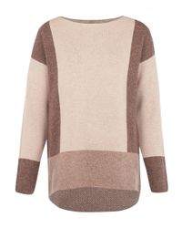 VINCE | Brown Camel Colourblock Boatbeck Wool-cashmere Knit Jumper | Lyst