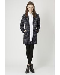 TOPSHOP | Blue Petite Checked Print Jersey Coat | Lyst
