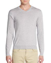 Saks Fifth Avenue | Gray Merino Wool V-neck Sweater for Men | Lyst