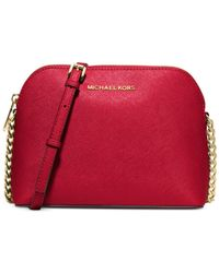 Michael Kors - Red Michael Cindy Large Dome Crossbody - Lyst