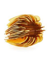 Viktoria Hayman - Metallic Slice Stretch Golden Tall Cuff Bracelet - Lyst