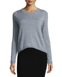 MILLY | Gray Bar-inset Wool Pullover | Lyst