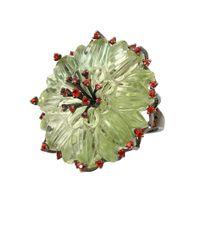 Bochic Green Amethyst Kiwi Flower Ring