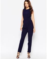 ASOS | Blue Tall Jumpsuit With Open Back And Pleat Detail | Lyst