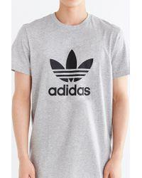 Adidas - Gray Originals Trefoil Logo Tee for Men - Lyst