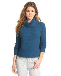 Halogen Blue Mixed Rib Turtleneck Cashmere Sweater