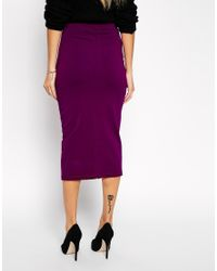 ASOS | Purple Tall Midi Skirt With Front Split | Lyst